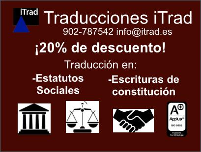 20% DE DESCUENTO EN TRADUCCIÓN JURADA DE ESTATUTOS SOCIALES Y ESCRITURAS