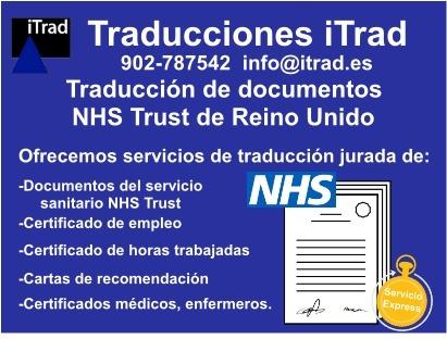 TRADUCCIONES JURADAS DE DOCUMENTOS EMITIDOS POR EL NHS TRUST