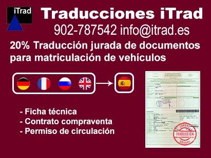 TRADUCCIÓN DE DOCUMENTOS MATRICULACIÓN DE VEHÍCULOS