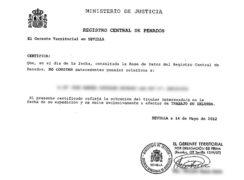 La traducción jurada de certificado de penales.